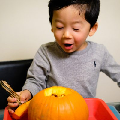 Pumpkin Volcano and Seeds – A Two in One Toddler Activity