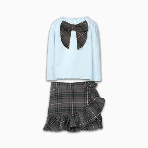 Janie and Jack plaid skirt outfit