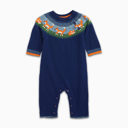 mini boden fox knit romper
