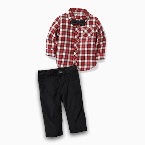 old navy plaid bow tie and pants