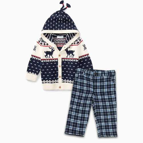 ralph lauren reindeer cardigan babycottons plaid pants
