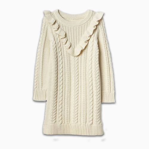 Gap Cable Knit Ruffle Sweaterdress