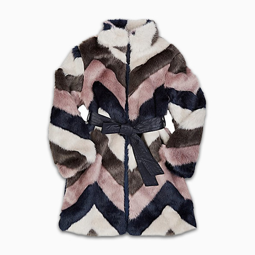 Imoga Chevron Pattern Faux Fur Jacket