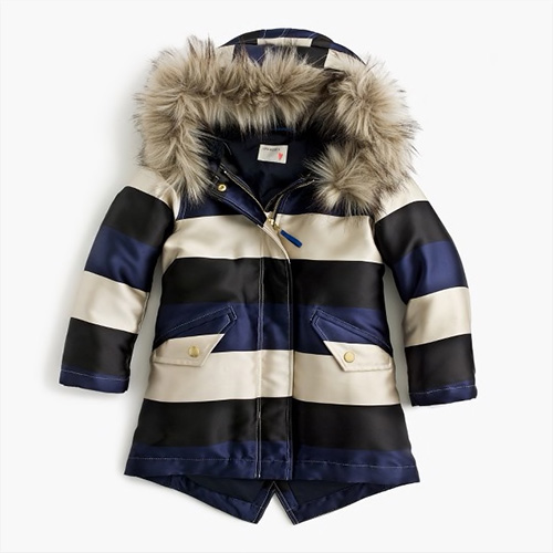 Jcrew Girls Striped Puffer Coat