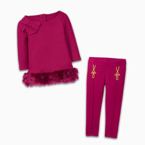 Janie And Jack Cranberry Faux Fur Top And Ponte Pants