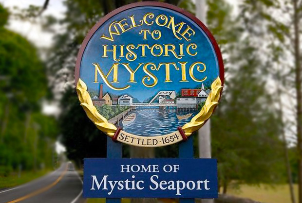 Mystic Conneticut Wood Sign