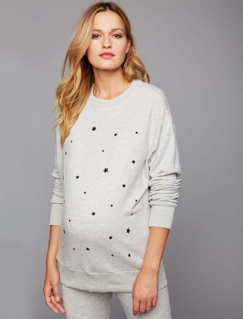 Monrow Star Print Maternity Sweatshirt