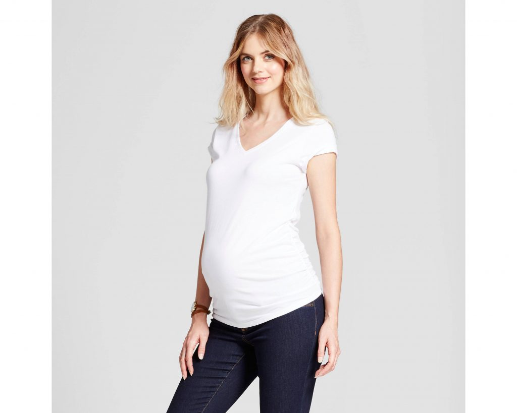 Target Maternity Shirred V Neck T Shirt