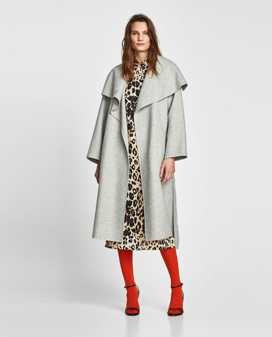 Zara Wool Coat With Wraparound Collar
