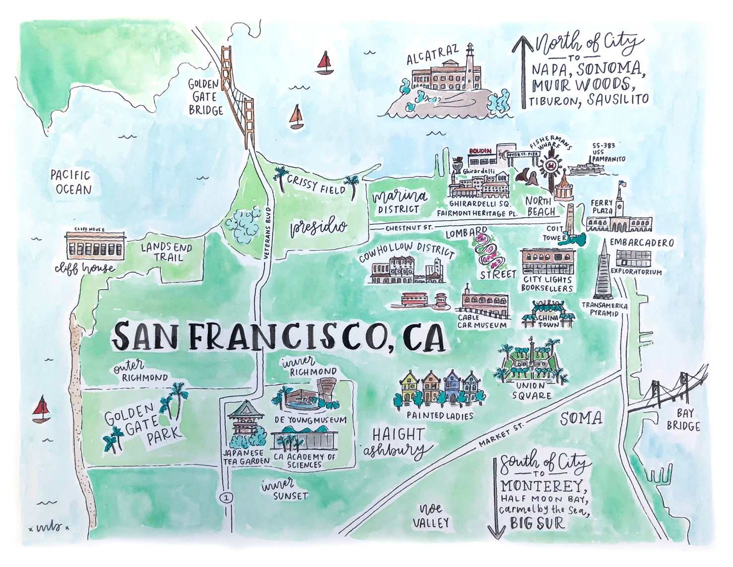 San Francisco Map Travel Guide with Kids Bash Co