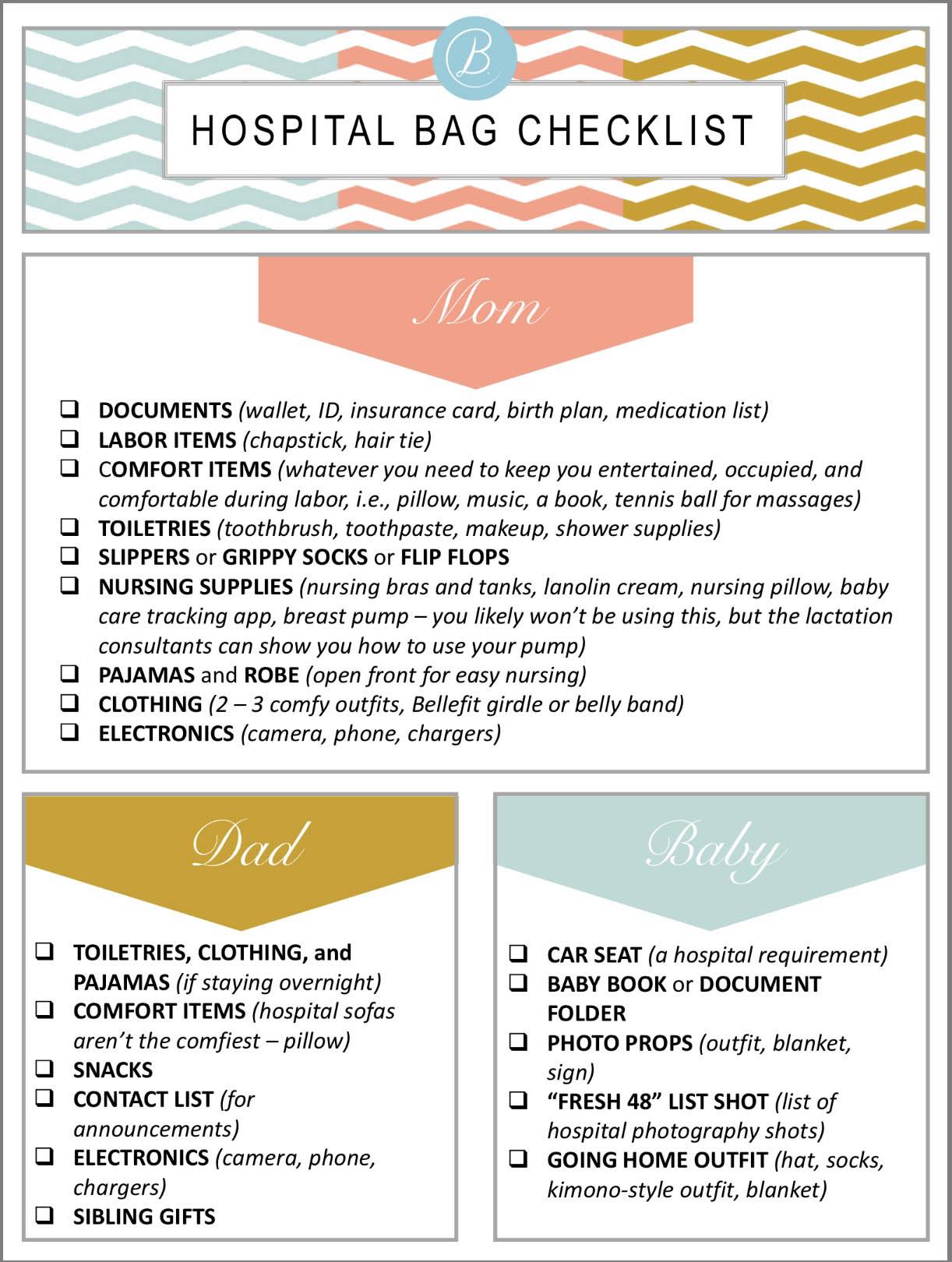 Checklist Go Bag