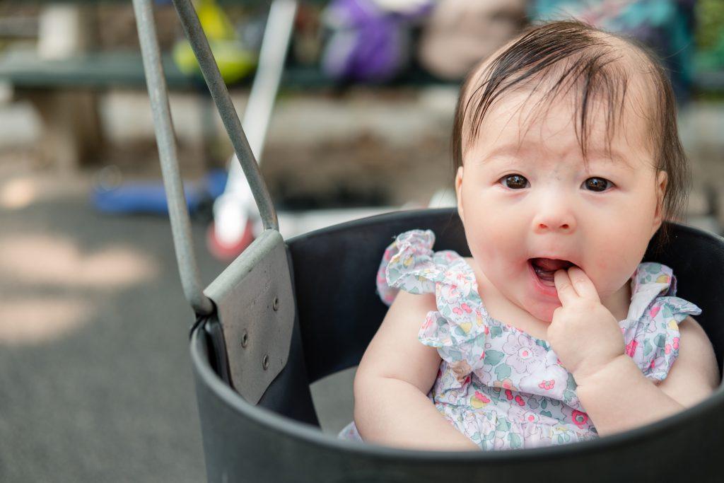 Swinging in the playground